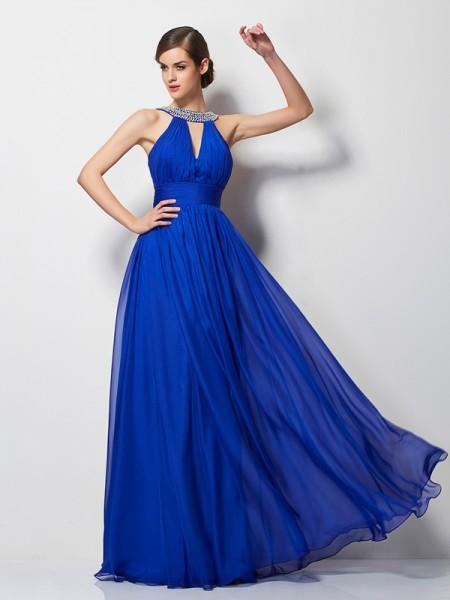 A-Line/Princess V-neck Sleeveless Beading Long Chiffon Dresses