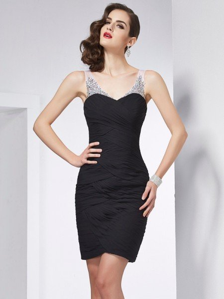 Sheath/Column Straps Sleeveless Beading Short Chiffon Homecoming Dresses