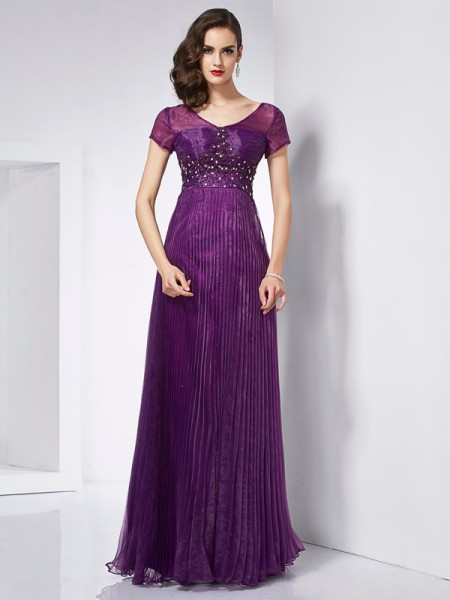 A-Line/Princess V-neck Short Sleeves Beading Long Organza Dresses