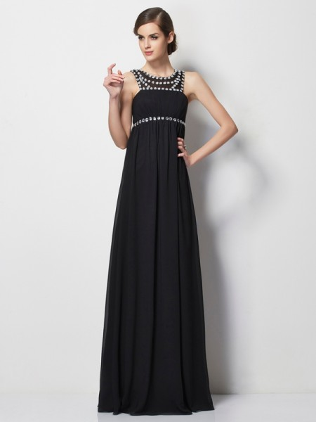 Sheath/Column High Neck Sleeveless Beading Long Chiffon Dresses