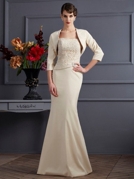 Sheath/Column Square Sleeveless Lace Long Elastic Woven Satin Mother of the Bride Dresses
