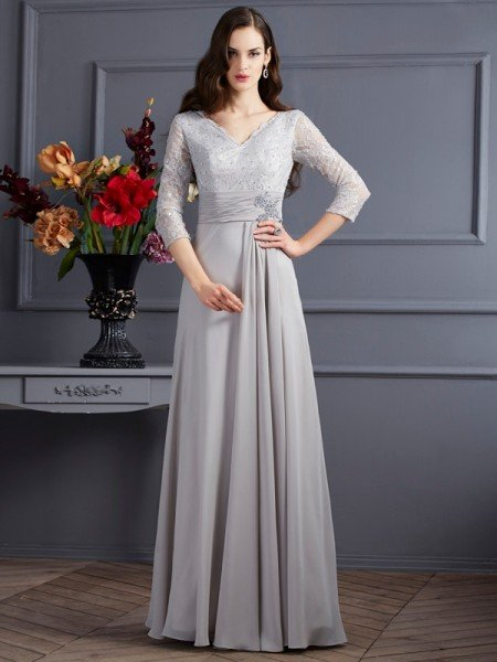 A-Line/Princess V-neck 3/4 Sleeves Applique Long Chiffon Mother of the Bride Dresses