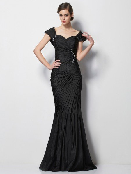 Trumpet/Mermaid Sweetheart Short Sleeves Beading Long Taffeta Mother of the Bride Dresses
