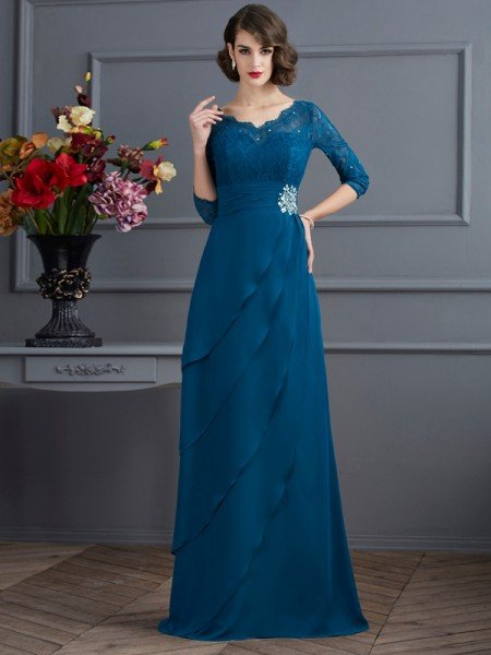 A-Line/Princess V-neck 3/4 Sleeves Long Chiffon Mother of the Bride Dresses