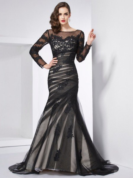 Trumpet/Mermaid Jewel Long Sleeves Applique Long Net Dresses