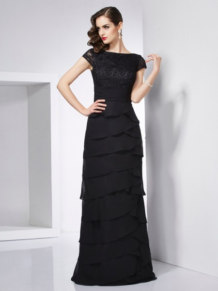 Sheath/Column Scoop Short Sleeves Long Chiffon Dresses