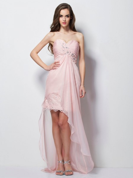 A-Line/Princess Sweetheart Sleeveless Beading Applique High Low Chiffon Dresses