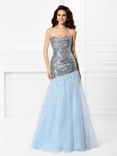 Trumpet/Mermaid Sweetheart Sequin Sleeveless Long Satin Dresses