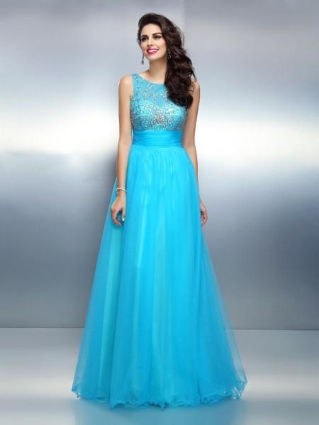 A-Line/Princess Bateau Beading Sleeveless Long Elastic Woven Satin Dresses