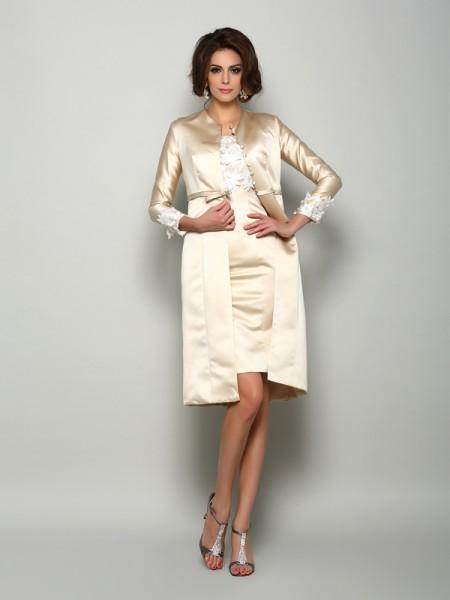 Sheath/Column Square Applique Short Sleeves Short Satin Mother of the Bride Dresses