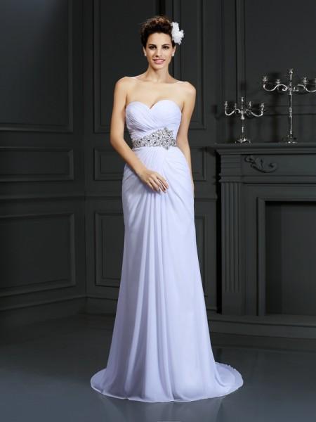 Sheath/Column Sweetheart Beading Sleeveless Long Chiffon Wedding Dresses