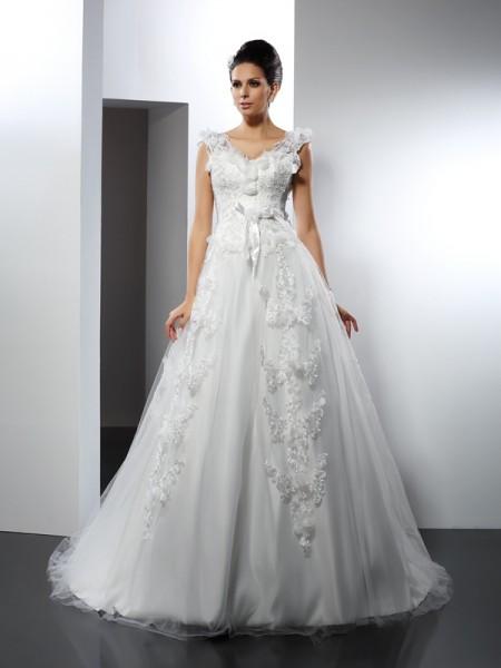 A-Line/Princess Straps Lace Sleeveless Long Satin Wedding Dresses