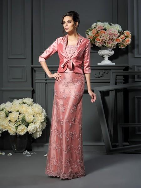 A-Line/Princess Straps Lace Sleeveless Long Taffeta Mother of the Bride Dresses