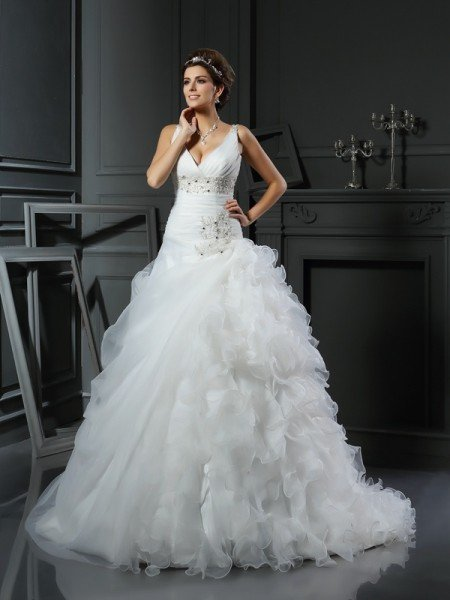 Ball Gown V-neck Ruffles Sleeveless Long Organza Wedding Dresses