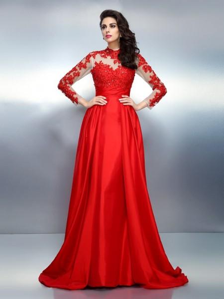 A-Line/Princess High Neck Applique Long Sleeves Long Satin Dresses