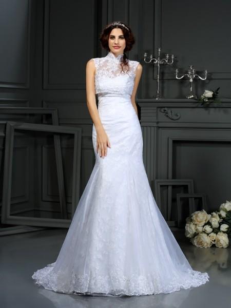 Trumpet/Mermaid Sweetheart Lace Sleeveless Long Satin Wedding Dresses