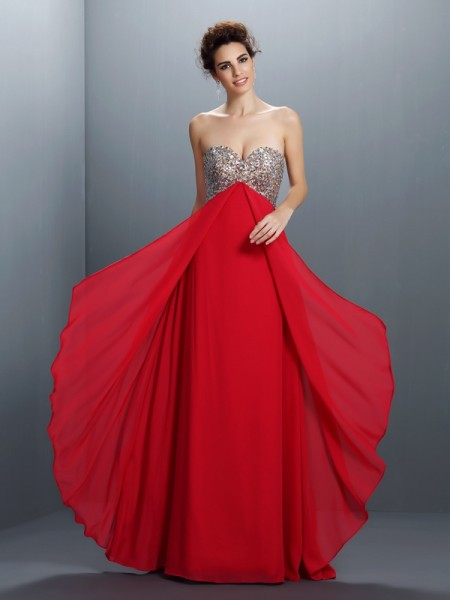 A-Line/Princess Sweetheart Beading Paillette Sleeveless Long Chiffon Dresses