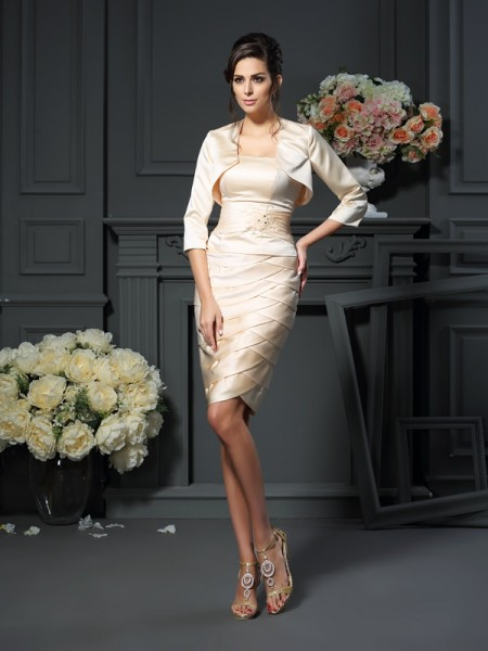 Sheath/Column Strapless Pleats Sleeveless Short Satin Mother of the Bride Dresses