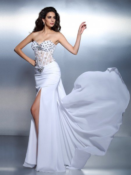 Trumpet/Mermaid Sweetheart Pleats Sleeveless Long Chiffon Dresses