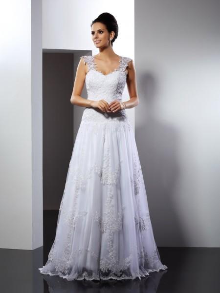 A-Line/Princess Straps Applique Sleeveless Long Lace Wedding Dresses