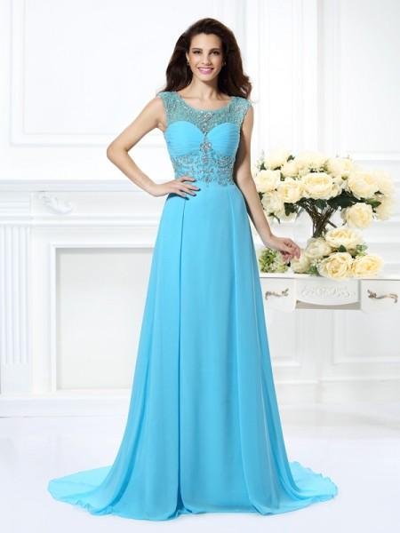 A-Line/Princess Scoop Beading Sleeveless Long Chiffon Dresses