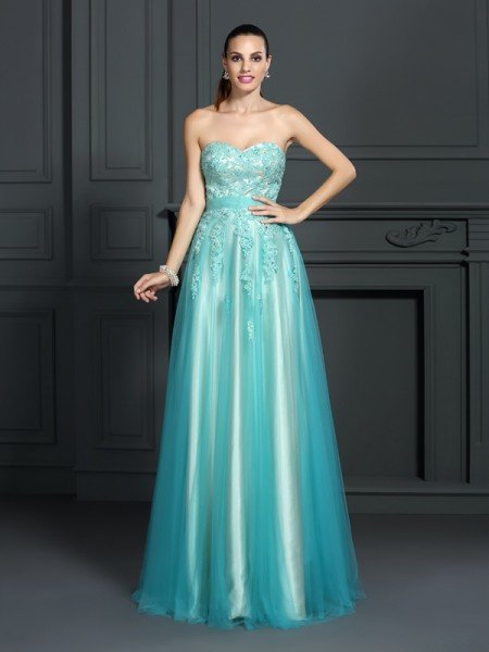 A-Line/Princess Sweetheart Applique Sleeveless Long Elastic Woven Satin Dresses