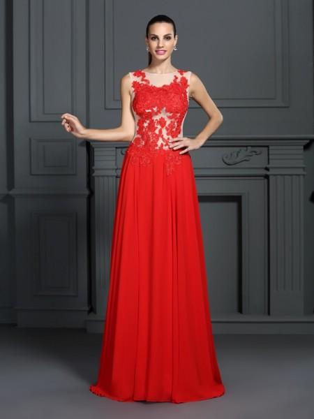 A-Line/Princess Bateau Applique Sleeveless Long Chiffon Dresses