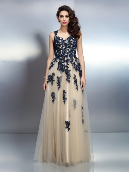 A-Line/Princess Straps Applique Sleeveless Long Elastic Woven Satin Dresses