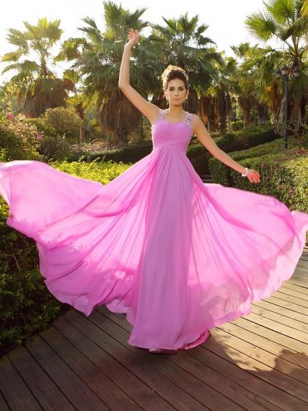 A-Line/Princess Straps Applique Sleeveless Long Chiffon Dresses