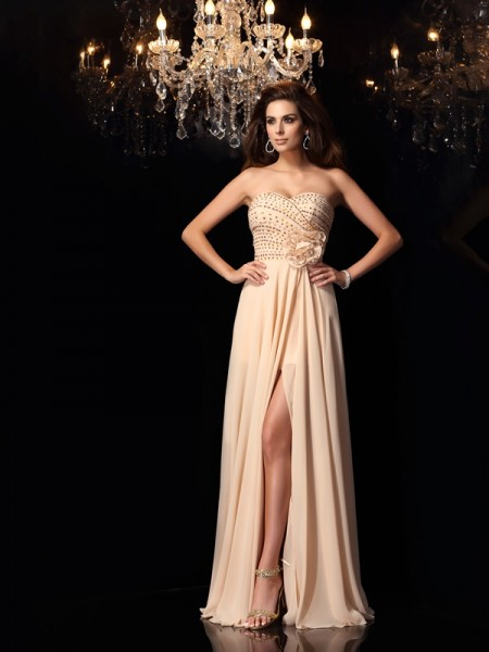 A-Line/Princess Sweetheart Hand-Made Flower Sleeveless Long Chiffon Dresses
