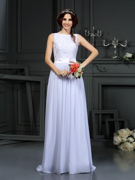 A-Line/Princess Scoop Lace Sleeveless Long Chiffon Wedding Dresses