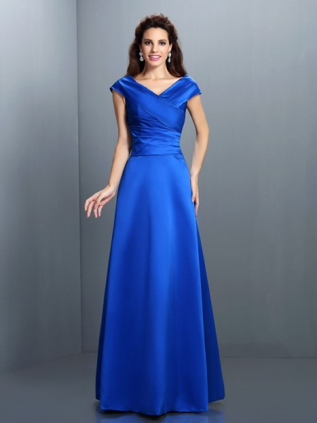 A-Line/Princess V-neck Sleeveless Long Satin Dresses
