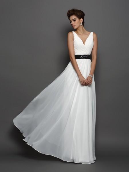 A-Line/Princess V-neck Sash/Ribbon/Belt Sleeveless Long Chiffon Wedding Dresses
