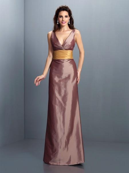 Sheath/Column V-neck Pleats Sleeveless Long Taffeta Dresses