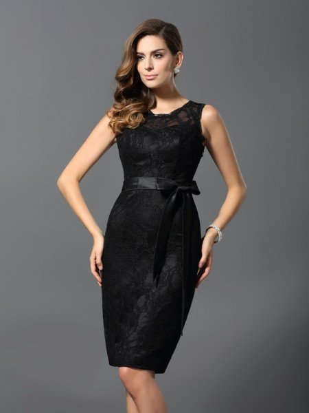 Sheath/Column Jewel Lace Sleeveless Short Satin Cocktail Dresses