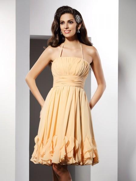 A-Line/Princess Halter Ruffles Sleeveless Short Chiffon Cocktail Dresses