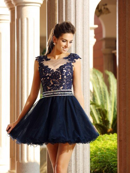 A-Line/Princess Scoop Applique Sleeveless Short Tulle Cocktail Dresses