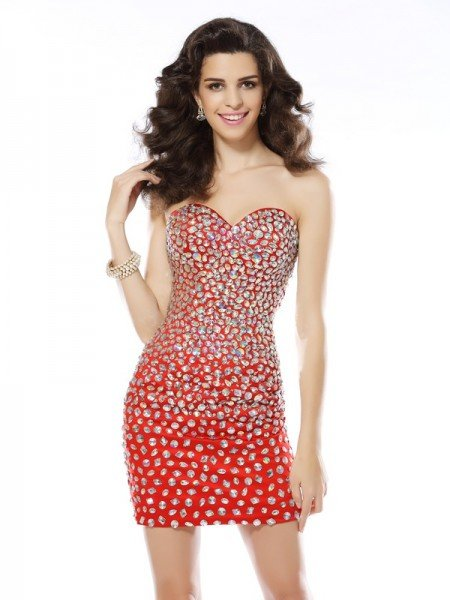 Sheath/Column Sweetheart Rhinestone Sleeveless Short Chiffon Cocktail Dresses