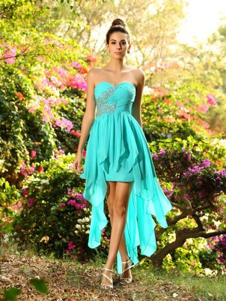 1d71be52e47b A-Line/Princess Sweetheart Beading Sleeveless High Low Chiffon Bridesmaid  Dresses