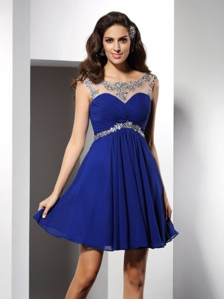 A-Line/Princess Scoop Beading Sleeveless Short Chiffon Cocktail Dresses