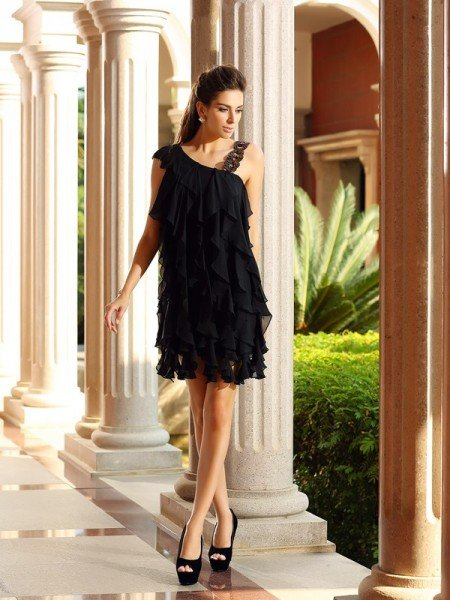 A-Line/Princess Ruffles Sleeveless Short Chiffon Cocktail Dresses