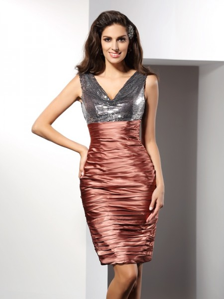 Sheath/Column V-neck Sleeveless Short Silk like Satin Cocktail Dresses