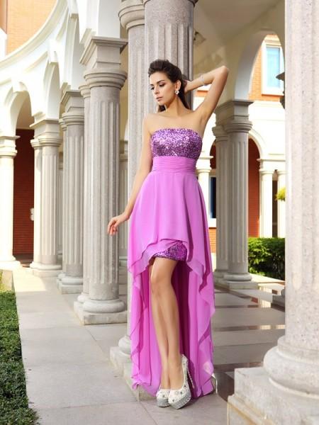 A-Line/Princess Strapless Beading Sleeveless High Low Chiffon Cocktail Dresses