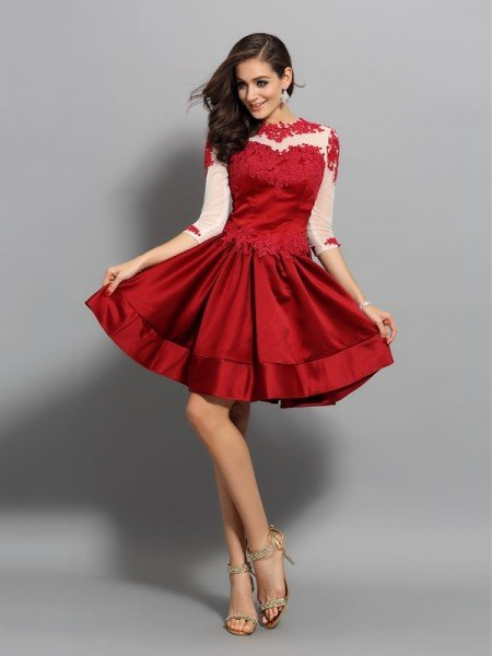 A-Line/Princess High Neck Applique 1/2 Sleeves Short Satin Cocktail Dresses