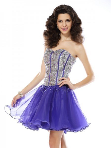 A-Line/Princess Sweetheart Beading Sleeveless Short Organza Cocktail Dresses