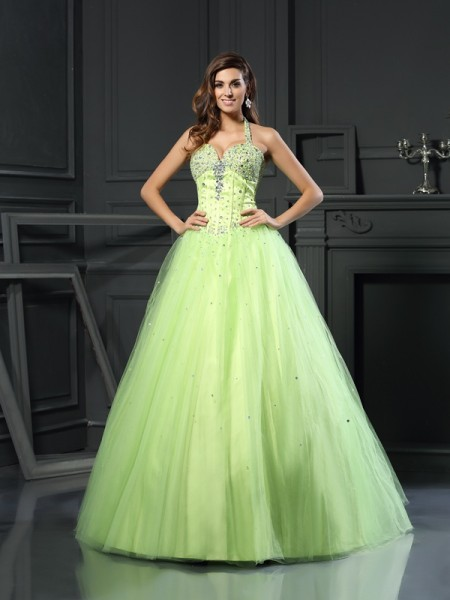 Ball Gown Halter Beading Sleeveless Long Satin Quinceanera Dresses