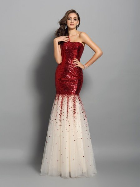 Trumpet/Mermaid One-Shoulder Sleeveless Long Sequins Dresses