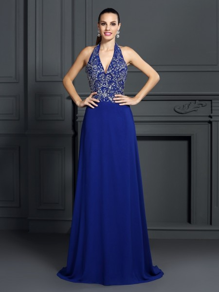 A-Line/Princess Halter Applique Sleeveless Long Chiffon Dresses