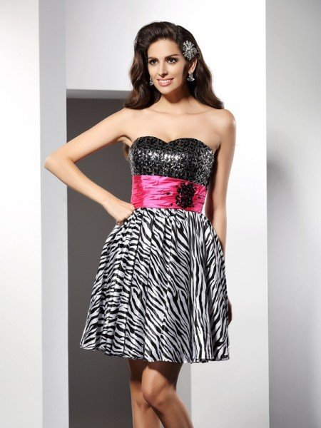 A-Line/Princess Sweetheart Sleeveless Short Chiffon Cocktail Dresses