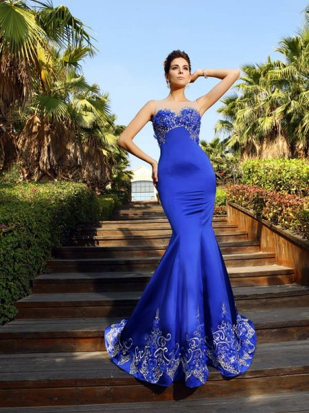 Trumpet/Mermaid Sweetheart Beading Sleeveless Long Satin Dresses